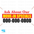 Custom Phone Numbe Ask About Our Move-in Specials Banner Business Advertising