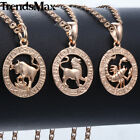 Zodiac 12 Signs Pendant Necklace Rose Gold Jewelry Women Men Talisman