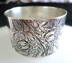 Antique Victorian Aesthetic Sterling Silver Floral Engraved Napkin Ring Foliate