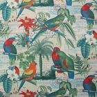 RICHLOOM EL CENTRO PARROT BLUE GREEN PARROTS BIRDS OUTDOOR FABRIC BY YARD 54W