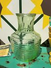 Anchor Hocking MANHATTAN Beehive RIBBED GREEN GLASS CARAFE JUICE PITCHER