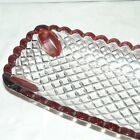VTG EAPG RUBY STAINED FLASH DIAMOND POINT BREAD ROLL CELERY SERVING DISH TRAY