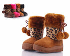 Camel Leopard Faux Suede Fur Top Booties Toddlers Girls Kids Booots Size 7