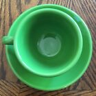 Homer Laughlin Fiestaware Cup and Saucer Shamrock Very Good Condition zzd