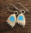 Bear Paw 925 Syerling Dilver Turquoise Earrings