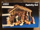 Vintage SEARS Nativity Set 9 Porcelain Figures Wood Stable Complete