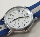 Timex T2N651 Men's Weekender Blue White Face Band Nylon Strap Watch Indiglo USED