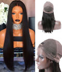 US STOCK Gluess Full Lace Wig Natural Black Long Straight Synthetic Hair 24