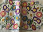 STUNNING LARGE VINTAGE LINEN HAND EMBROIDERED TABLECLOTH ~ VIBRANT DAISIES