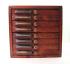 Antique Wood Dental Cabinet Table Top 8 Drawer w Ash Teeth Dental Storage Box