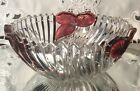 Contemporary Glass Bowl with Flash Cranberry Accents