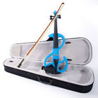 Hot 8 Style Beginner Electric Violin Silent Blue with Case  Accessories