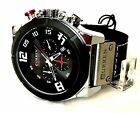Mens Fashion Watch W/Date Curren M8287 Black F Leather Silver Case 1 ATM