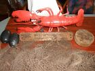 Vtg Japanese Wood Fish Crab  Float Kanji  with Net and Lobster Display appx 20ft