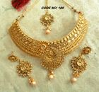 ndian Women Antique Bridal Necklace Set Gold Plated Jewelry Sale Price Bollywod