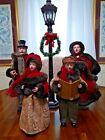 Family Of 4 Vintage Victorian Christmas Carolers With Battery Operated Lamp Post