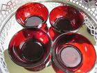 Anchor Hocking Soup Cereal Bowls Depression Glass Ruby Red Lot 4 #ES2