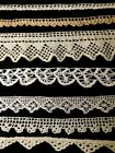 Antique Vintage Salvage Remnants of Seven Pieces Crochet Laces, Trims, Edgings