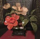 VINTAGE Asian Chinese bonsai glass jade tree flower plant With Stone Planter