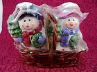 Vintage Salt and Pepper shakers Snowman and Woman Basket New Original Package