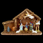 CHRISTMAS NATIVITY SET includes 12 FIGURES  MOSS DECORATED WOODEN CRECHE