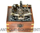 VINTAGE MARINE COLLECTIBLE BRASS GERMAN NAUTICAL SEXTANT WITH WOODEN GLASS BOX