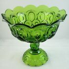 L E Smith Green Moon and Stars Compote Footed Centerpiece Bowl Scalloped Rim USA