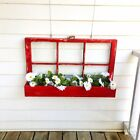 Farm House Decor Vintage Window Frame Unique Flower Planter Barn Red Decor