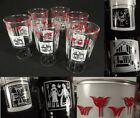 6 Vintage Mid Century Tulip Dutch Farm Rooster Scene Glasses Red White Black