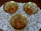 VINTAGE AMBER GLASS SET OF 3 CEREAL/FRUIT BOWLS, GILDED
