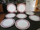 7 Hazel Atlas Candy Stripe Red Dinner Plates 9