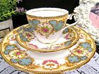 AYNSLEY tea cup and saucer trio floral pink rose swag pattern teacup pretty set