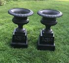 ANTIQUE LARGE GARDEN URNS WITH BASE CAST IRON NICE!