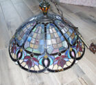 Large  Vintage Leaded Stained Glass Lamp Shade Jeweled - Beautiful - 21 1/2