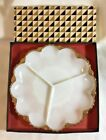 Vintage Anchor Hocking 3 Part Divided Serving Milk-glass Dish, In Original Box