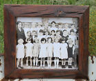 Primitive Picture Frame Heavily Distressed Wood w Vintage Photo