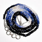 """51.05 Ct. Natural Blue Sapphire Multi Gemstone Rondelle Beads Nacklace 17-18"""""""