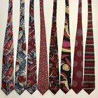 8 Mens Ties Abstract Wild 80s Art Retro Vintage 1980s Red Silk Poly Tie Lot