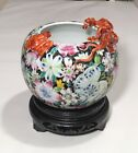 Chinese Porcelain Painted Flowers Bowl Applied Dragon And Bat  Brush Washer Pot