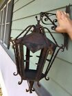 Old Rare Spanish Revival Hanging Out Doors Cage Light - Hand Forged - Antique