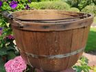 Antique Farm Gathering Apple Basket Staved Wood With Bail handle