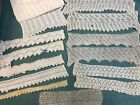 Antique Knitted Lace Trim Lot  13 pcs  5 pair and 3 single pieces   Craft Doll