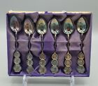 Set of 6 Vintage Sterling Silver Demitasse Spoons in Original Box - Asian Design