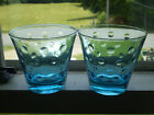 Hazel Atlas Blue Capri Dots 4 Rocks Old Fashion Tumblers