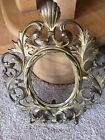 Antique Brass Cast Iron Oval Picture Frame