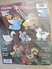 Bucilla BABY JESUS NATIVITY 8 Ornaments Felt Applique Christmas Kit 84598 New