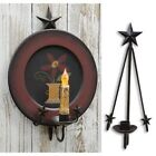 Primitive Country Rustic Black Wrought Iron Folk Star Wall Plate