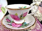 Paragon tea cup and saucer pretty floral pink rose pattern teacup flared set