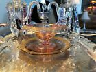 Vintage Never Used PINK w Gold Overlay Depression Glass Sauce Mayo Compote Bowl