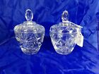 Vintage Anchor Hocking EAPG Prescut Glass 2 Candy Dishes Hobstar Pineapple EUC
